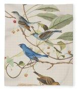 Indigo Bird Fleece Blanket