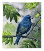 Indigo Bunting Fleece Blanket