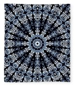 Indigo Flow Blue Kaleidoscope Fleece Blanket