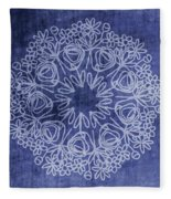 Indigo Mandala 1- Art By Linda Woods Fleece Blanket