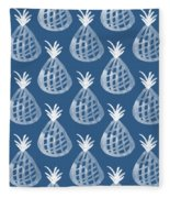 Indigo Pineapple Party Fleece Blanket