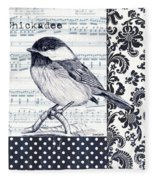Indigo Vintage Songbird 2 Fleece Blanket
