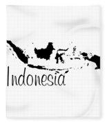 Indonesia In Black Fleece Blanket