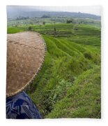 Indonesian Rice Farmer Fleece Blanket