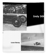 Indy 500 1928 Sam Ross And Leon Duray Fleece Blanket