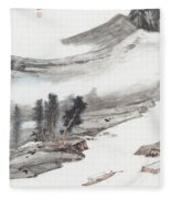 Ink And Wash Pine Fleece Blanket
