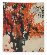 Ink Painting A Tree Gules Persimmon Girl Fleece Blanket