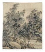 Ink Painting Landscape Bamboo Forest Rivers Fleece Blanket