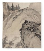 Ink Painting Landscape House Fleece Blanket
