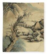 Ink Painting Landscape River Fleece Blanket