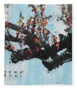 Ink Painting Plum Blossom Blue Fleece Blanket