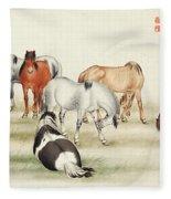 Ink Painting Stud Of Horses Fleece Blanket