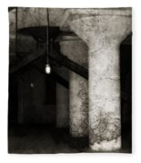 Inside Empty Dark Building With Light Bulbs Lit Fleece Blanket