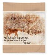 Inspirational Quote Horse Photo Fleece Blanket