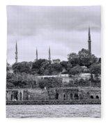 Instanbul In Black And White Fleece Blanket