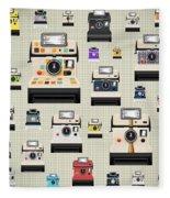 Instant Camera Pattern Fleece Blanket