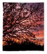 Intense Sunset Tree Silhouette Fleece Blanket