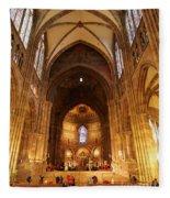 Interior Of Strasbourg Cathedral Fleece Blanket