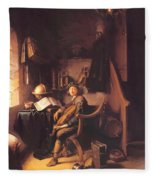 Interior With A Young Violinist 1637 Fleece Blanket