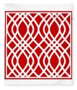 Intertwine Latticework With Border In Red Fleece Blanket