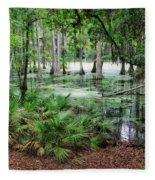 Into The Green Swamp Fleece Blanket