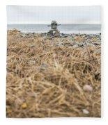 Inukshuk At Lawrencetown Beach, Nova Scotia Fleece Blanket