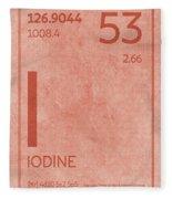 Iodine Element Symbol Periodic Table Series 053 Fleece Blanket