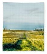 Iowa Cornfield Panorama Fleece Blanket
