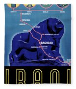 Iraq Vintage Travel Poster Restored Fleece Blanket