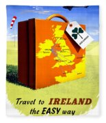 Ireland Vintage Travel Poster Restored Fleece Blanket