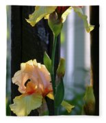 Iris Along The Fence 6731 H_2 Fleece Blanket