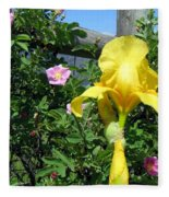 Iris And Wild Roses Fleece Blanket