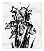 Iris Flower And Butterfly Fleece Blanket