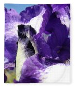 Iris Flower Art Print Purple Irises Botanical Floral Artwork Fleece Blanket