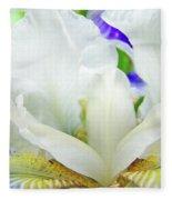 Iris Flower Art Print White Blue Purple Irises Baslee Troutman Fleece Blanket