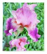 Iris Flower Photograph I Fleece Blanket