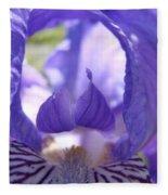 Iris Flower Purple Irises Floral Botanical Art Prints Macro Close Up Fleece Blanket