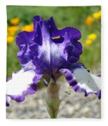Iris Flower Purple White Irises Nature Landscape Giclee Art Prints Baslee Troutman Fleece Blanket