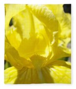 Iris Flower Yellow Macro Close Up Irises 30 Sunlit Iris Art Print Baslee Troutman Fleece Blanket