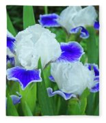 Iris Flowers Art Prints Blue White Irises Floral Baslee Troutman Fleece Blanket