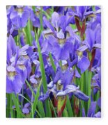 Iris Flowers Artwork Purple Irises 9 Botanical Garden Floral Art Baslee Troutman Fleece Blanket