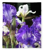Iris Flowers Floral Art Prints Purple Irises Baslee Troutman Fleece Blanket
