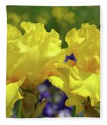 Iris Flowers Garden Art Yellow Irises Baslee Troutman Fleece Blanket