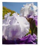 Iris Flowers Purple White Irises Poppy Hillside Landscape Art Prints Baslee Troutman Fleece Blanket