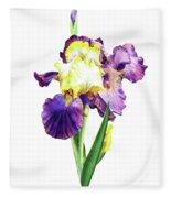 Iris Flowers Watercolor  Fleece Blanket