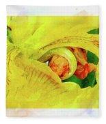 Iris In Abstract Fleece Blanket
