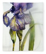 Iris In Bloom Fleece Blanket