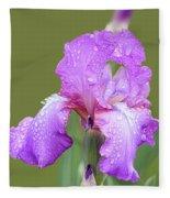Iris In Summer Rain  Fleece Blanket