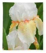 Iris In The Rain Fleece Blanket