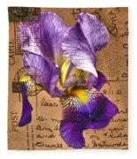 Iris On Vintage 1912 Postcard Fleece Blanket